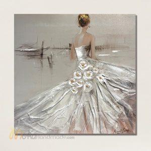 Tranh nổi sơn dầu cô gái - Bride