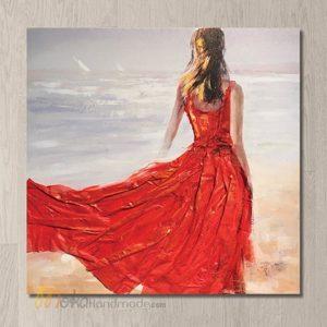 Tranh nổi sơn dầu cô gái - Beauty on the beach