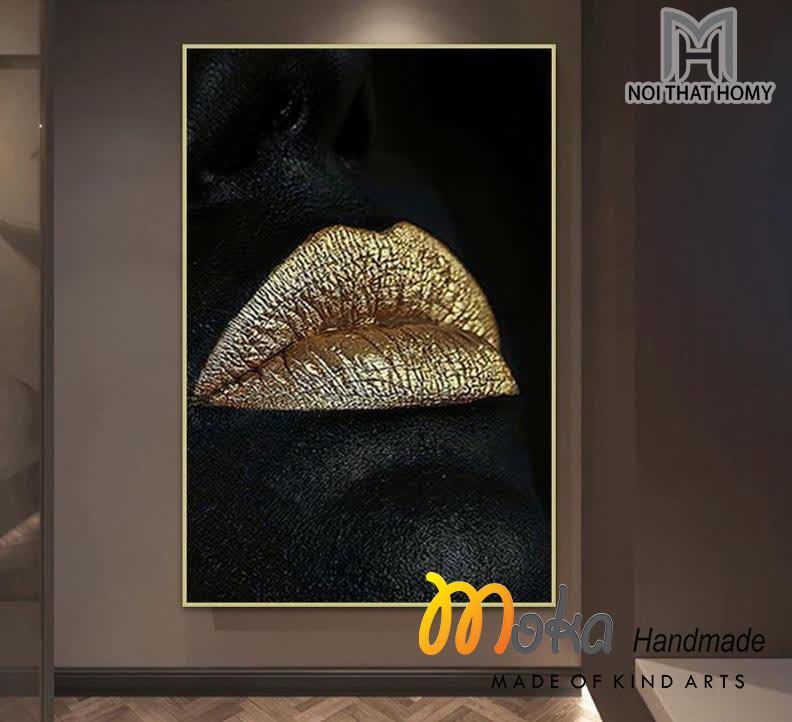 Tranh dát vàng Đôi Môi Vàng