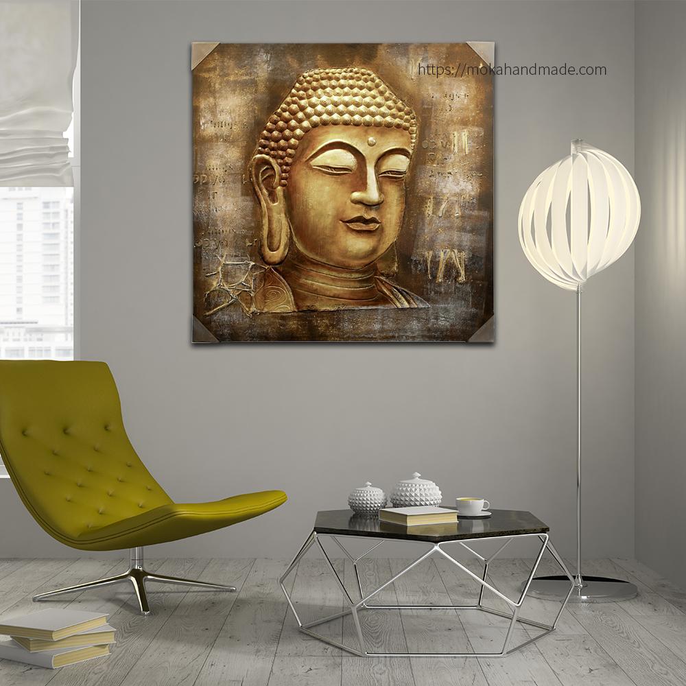 Tranh nổi sơn dầu đầu Tượng Phật Buddha